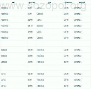 Разписание на кометите - Созопол, Несебър и Варна 4